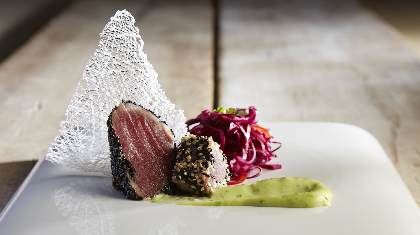 Sesame crusted tuna with Miso slaw